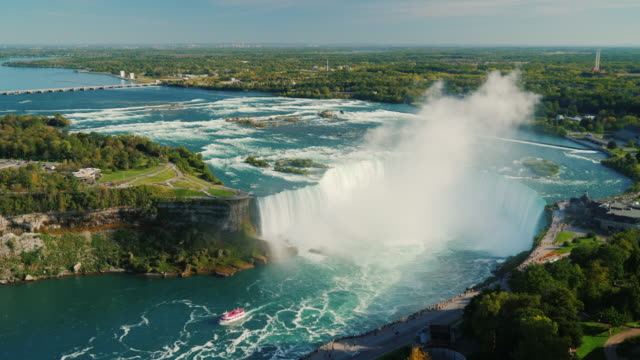 Aerial viewr to the incredible Nigar waterfalls and the Niagara River