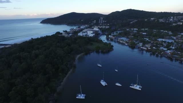Aerial views of Hasting Street Noosa Heads video
