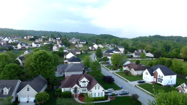Aerial views of neighborhood in the rolling hills of Tennessee video