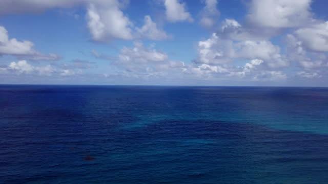 vidéos et rushes de vue aérienne vue: haut de la belle mer des caraïbes. eau de mer turquoise. - baie eau
