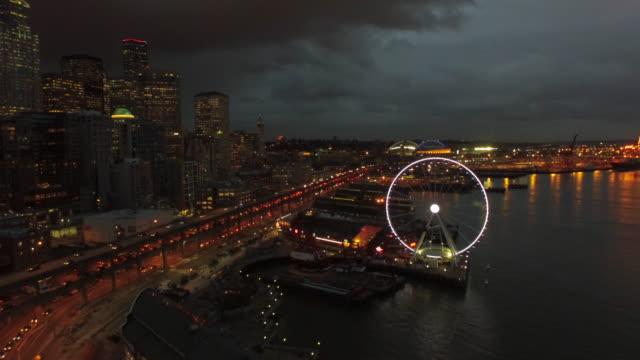공중 워싱턴 시애틀 - seattle 스톡 비디오 및 b-롤 화면
