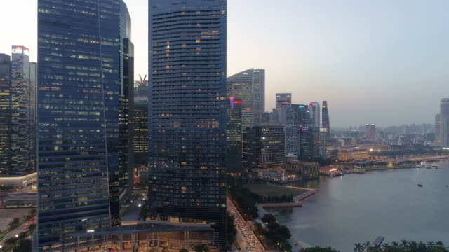 Aerial wide cityscape view of skyline in Singapore downtown CBD central