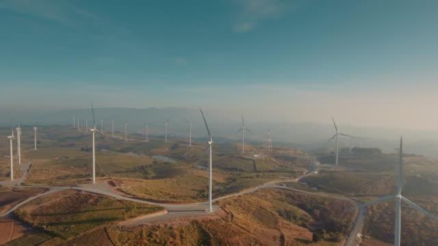Aerial Wind turbine farm video