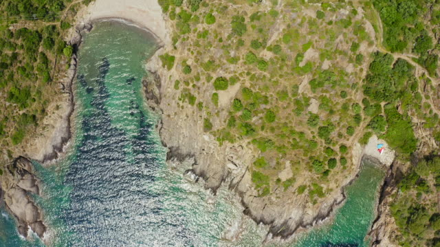 Aerial Windy bay in Costa Brava coast in spring time