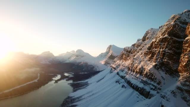 Aerial | Winter Wonderland | Bow lake