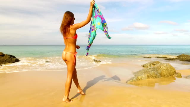 Aerial: Young beautiful girl posing on the beach. video