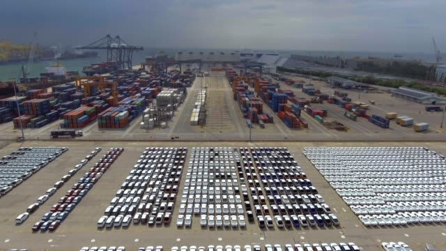 Aerial:Auto export car wait for deliver video