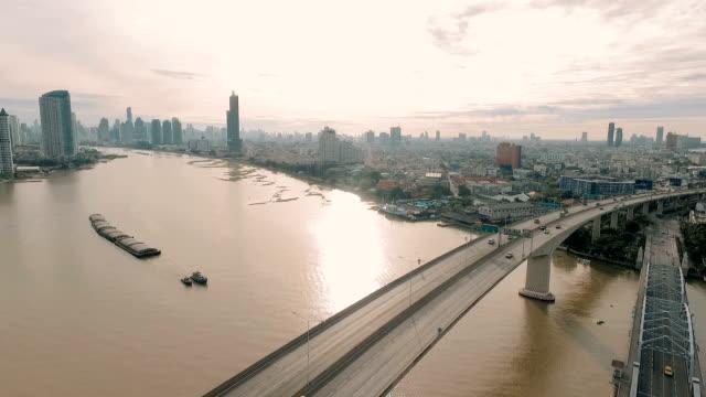 aerial:city view of bangkok - fiume chao phraya video stock e b–roll