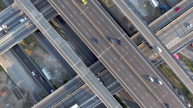 Aerial:Highway traffic video