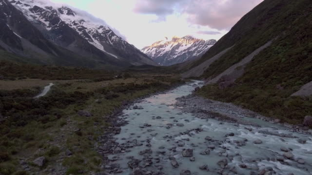 Aerial:Mt.Cook at Dusk video