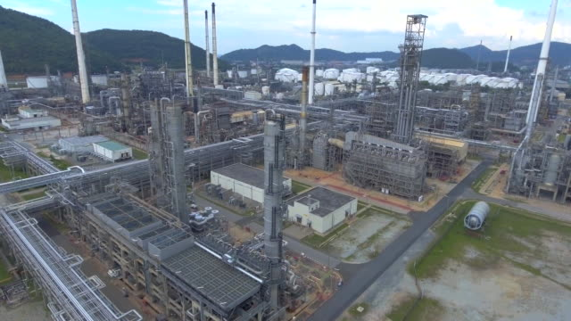 AERIAL:oil refinery facilities with tanker video
