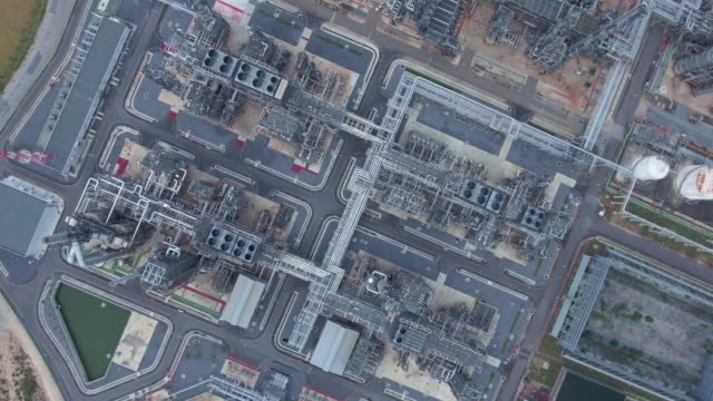 Aerial:Oil Refinery aerial,pipeline,gas pipe connector stock videos & royalty-free footage