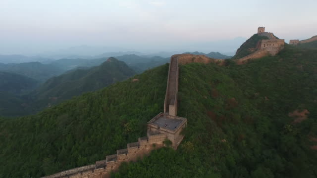 Aerials Of Great Wall Aerial view of the world's longest wall soaring thousands of miles along mountaintops in China china east asia stock videos & royalty-free footage