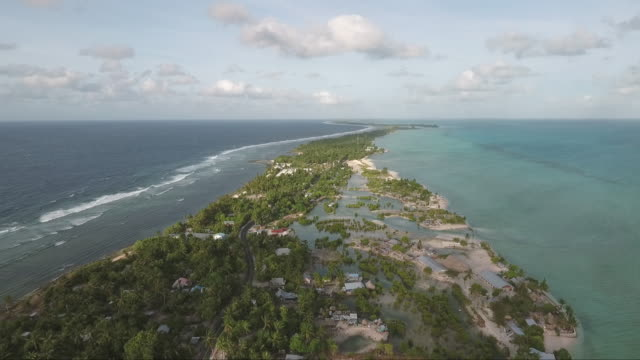 Aerials of South Pacific islands. Aerial vantage points of the atolls and seascapes of Kiribati. pacific islands stock videos & royalty-free footage