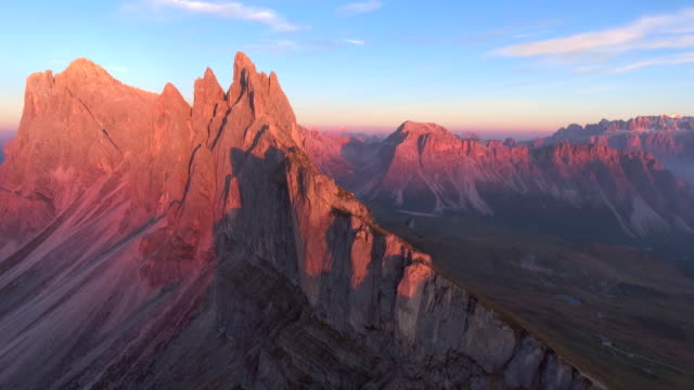 Aerial:Seceda Mountain Range At Dusk video