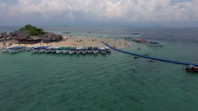 Aerial:Summer vacation on the Beach island video