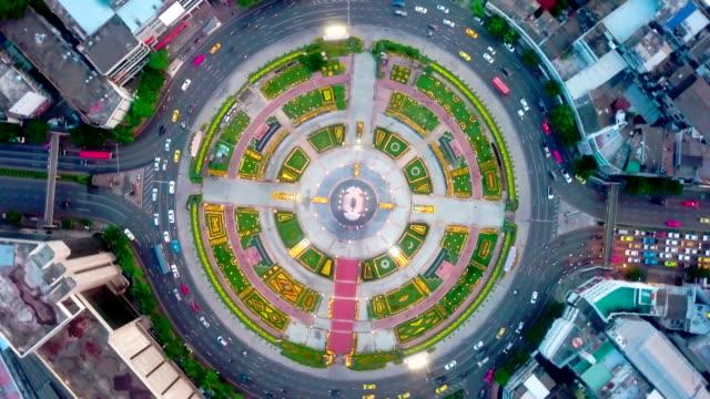 aerial:traffic circle - aerial timelapse stock videos & royalty-free footage