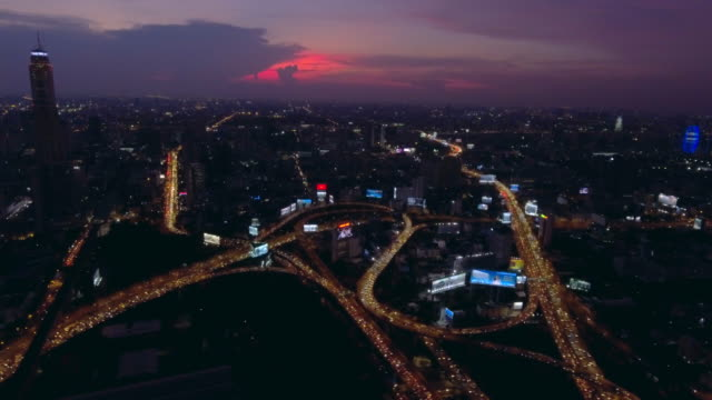 Aerial:Traffic in rush Hour at dusk video