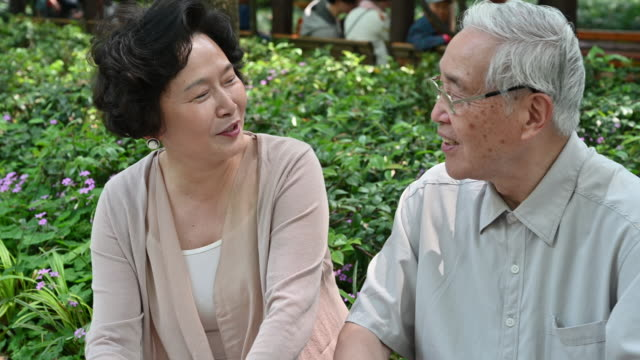 affectionate chinese senior couple chatting in the park - occhiata laterale video stock e b–roll