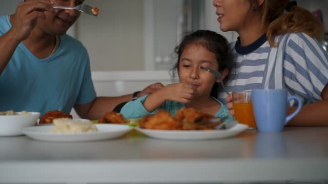 Affectionate family having lunch together at home Affectionate family having lunch together at home. Malaysian and Chinese ethnicities. feeding stock videos & royalty-free footage