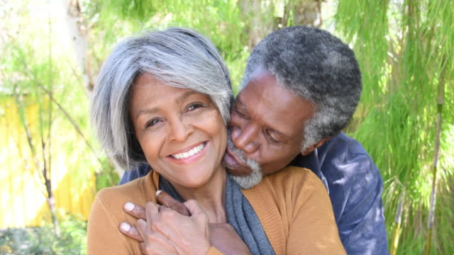 Affectionate Senior African American couple video