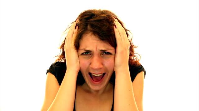 Afraid woman screaming video