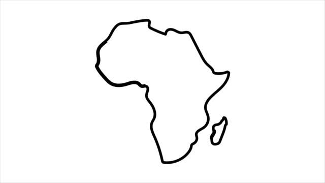 африка карта эскиз иллюстрации рисованной анимации альфа лума матте включены. 4k - континент географический объект стоковые видео и кадры b-roll