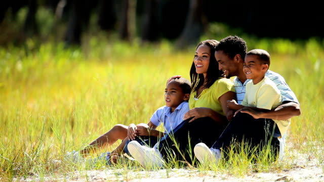 African American Family Enjoying Time Outdoors video