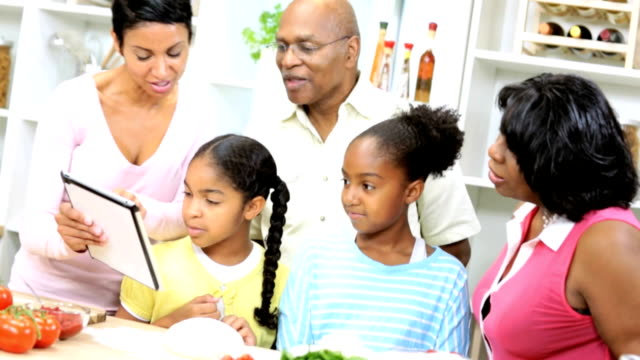 African American Family Kitchen Tablet Food Websites video