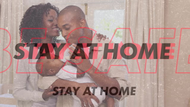 African American family with words Stay At Home
