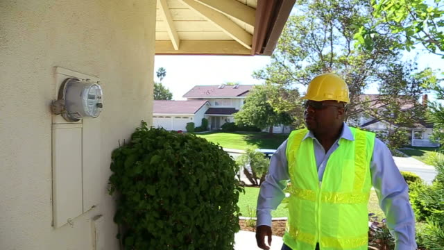 African American Smart Meter Technician Wide video
