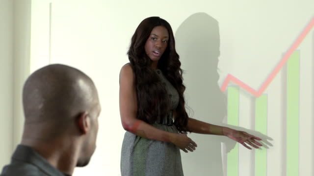 African American woman giving a presentation of company's profits video
