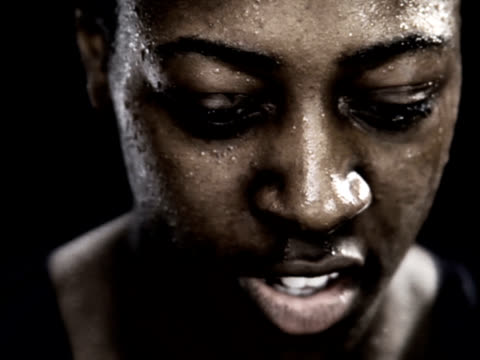 PAL African American Woman Intense Running Close Up video
