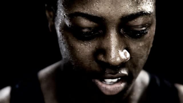 African American Woman Intense Running Close Up video