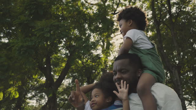 vídeos de stock, filmes e b-roll de família africana no parque - dia dos pais