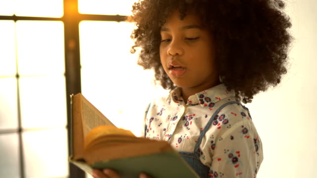 vídeos de stock, filmes e b-roll de livro de texto africano da leitura da menina - menina negra