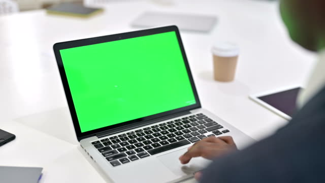 African Man working on Laptop with Chroma Key Screen African Man working on Laptop with Chroma Key Screen chroma key stock videos & royalty-free footage