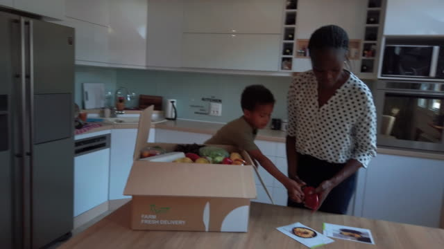african woman and her son taking out groceries out of box - food delivery filmów i materiałów b-roll