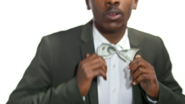 African-American Businessman with Money Bow Tie video