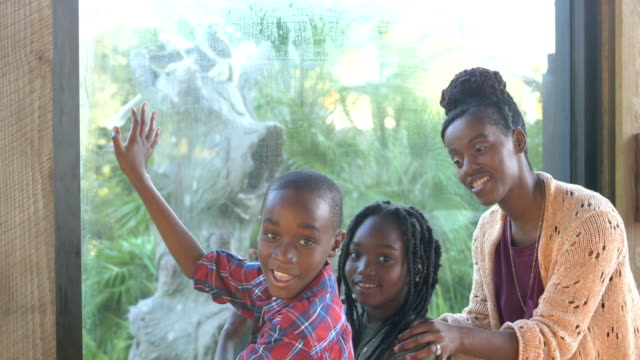 African-American children and mother at the zoo