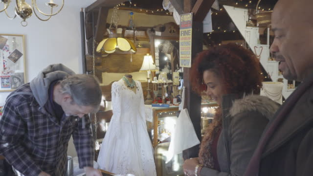 African-American Couple Shop at Antique Store video