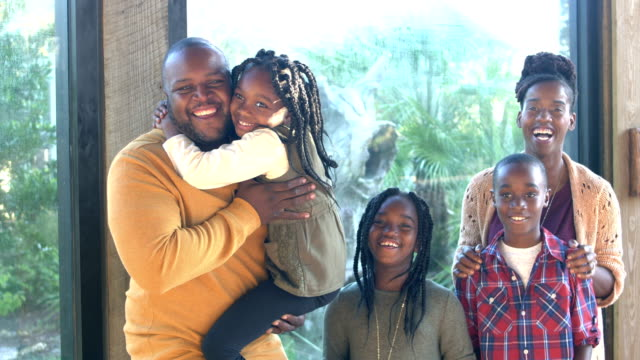 African-American family of five at the zoo