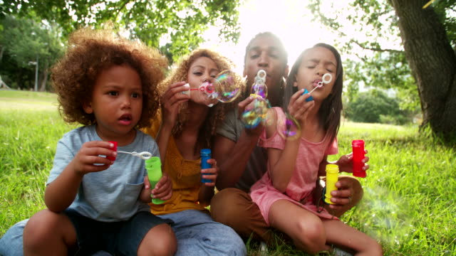 African-american family sitting in beautiful park blowing bubbles video