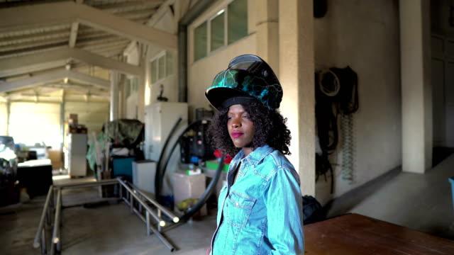 African-American female welder African-American female welder metal worker stock videos & royalty-free footage