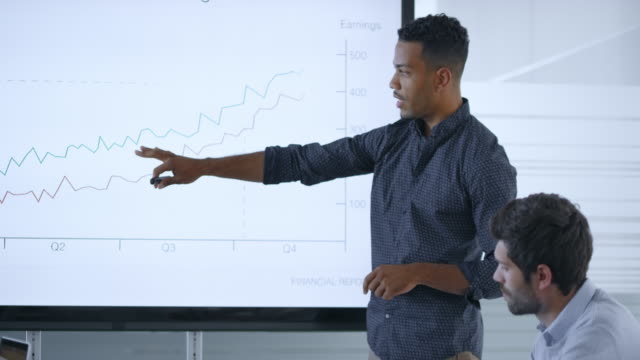African-American man explaining the financial graph on the screen in the meeting room