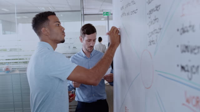 African-American man writing a diagram on a whiteboard and his male colleague is helping him Medium handheld shot of an African-American man writing a diagram on the whiteboard and his Caucasian male colleague is helping him by checking he copied everything from the paper he is holding. Shot in Slovenia. whiteboard visual aid stock videos & royalty-free footage
