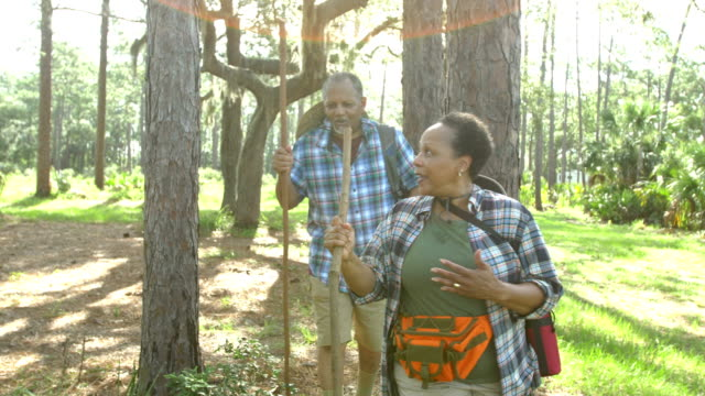African-American senior couple hiking in woods