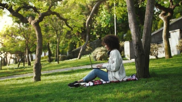 afro amerikansk kvinna i vardagskläder. hon ler och arbetar online på laptop medan du sitter på grön gräsmatta och rutiga matta i parken - naturparksområde bildbanksvideor och videomaterial från bakom kulisserna