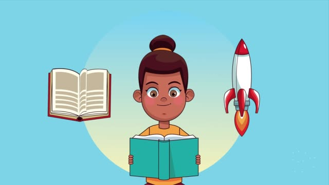 Bидео afro little student girl reading book with rocket animated character
