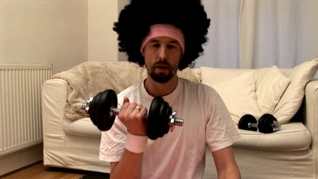 Afro man works out, PAL ANAMORPHIC video